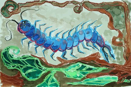 centipede: a colorful centipede painting background, centipede painting