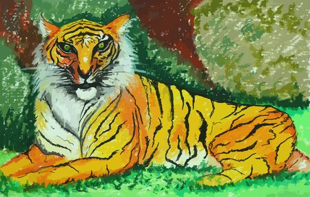 panthera: the tiger in green forest painting background