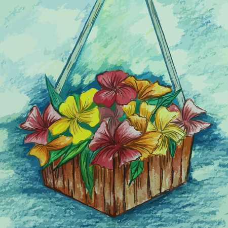 colorful flower in a basket painting background Illustration
