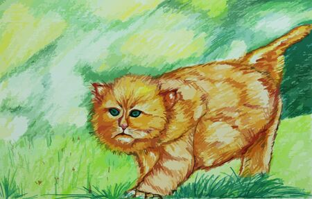 cute cat in the forest painting background