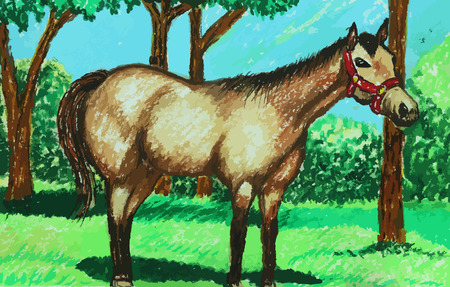 wild stallion in the forest painting background