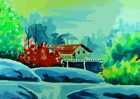a House among forests with waterfalls flowing through painting