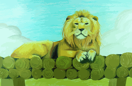 Lion sitting on a pile of wood painting background