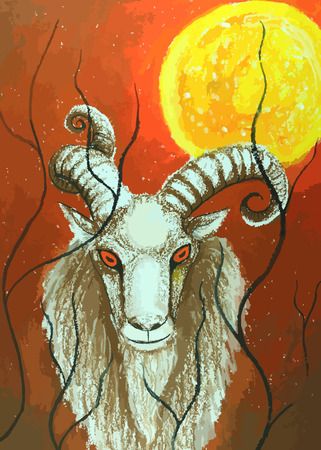 sunset painting: Goat standing on the sunset painting background Illustration