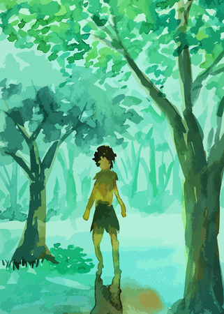 Man walking in the forest painting background