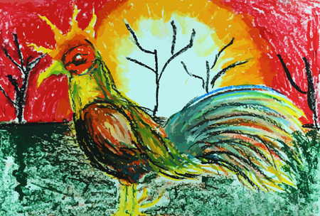 colorful gamecock painting background, fighting cock drawing