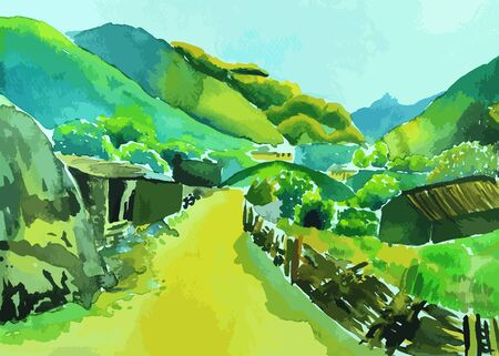 cultivated land: Houses in the countryside surrounded by mountains painting