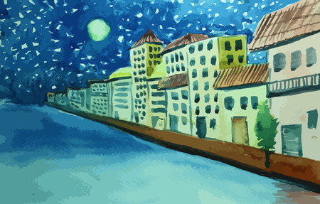 Italian-style houses on the river with beatiful moon painting background