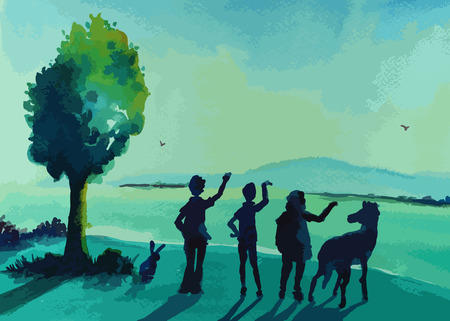happy family standing in the nature painting background