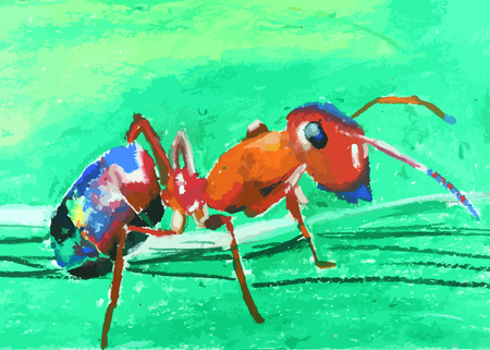 a colorful ant with green  painting background Illustration