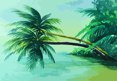 samui: Coconut tree jutting out into the sea painting background