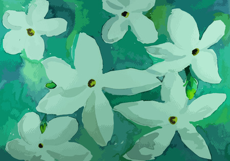 beatiful: beatiful flower on a green painting background