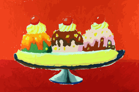Banana split ice cream on the colorful painting background