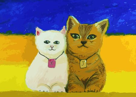 cute cat painting on a colorful background Illustration