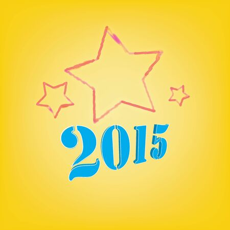 2015 Text with colorful star on a yellow background