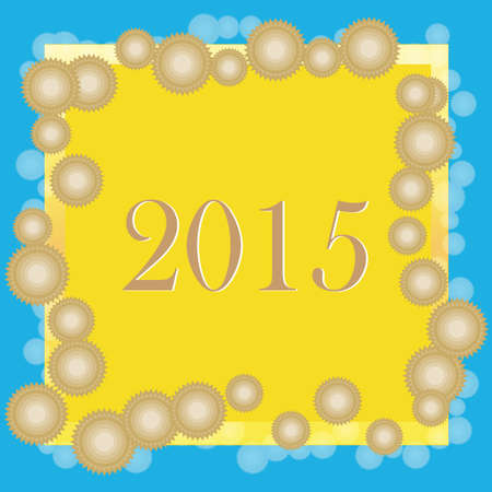2015 Text with circle on a colorful background