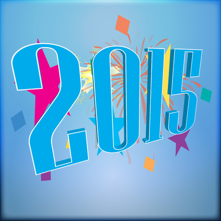 2015 Text with colorful firework on a blue background