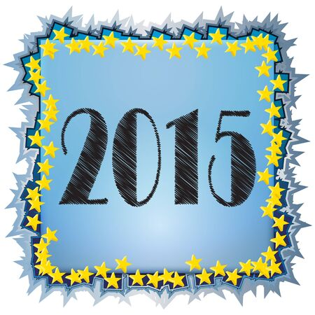 2015 Text with gold star  on a colorful background Illustration