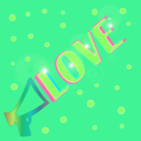 abstract colorful love text on a green background