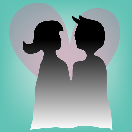 Silhouette of a loving couple with heart Illustration
