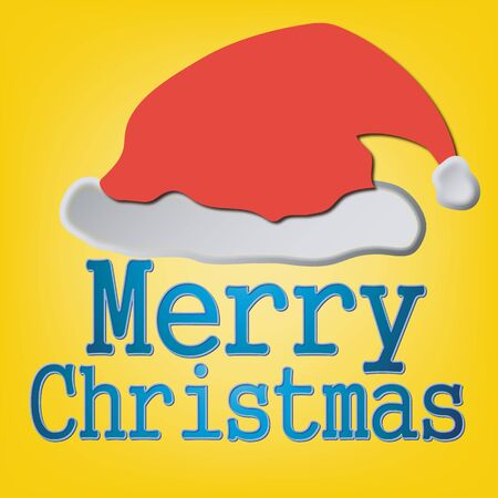 Santa Claus red hat on a yellow background