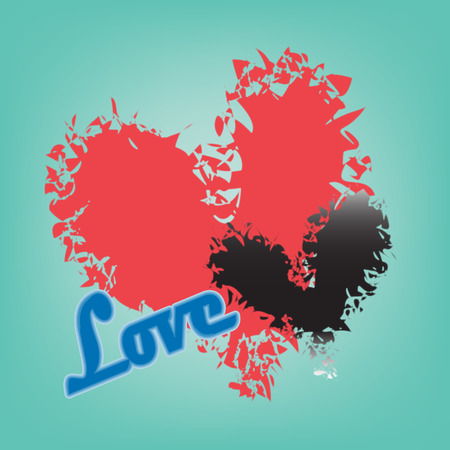 abstract red and black heart on a blue background Illustration