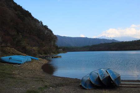 saiko: Boat at the lake saiko with Mount Fuji i background