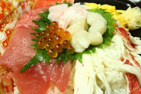 hotate: Various kinds of sashimi raw fish with rice