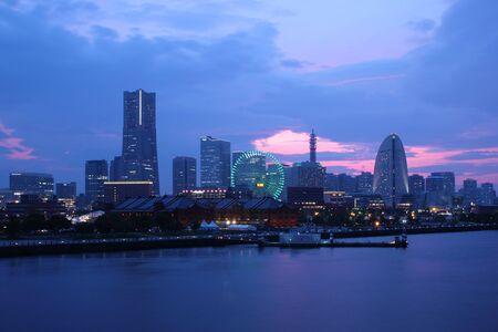 Japan skyline at Yokohama city - Japan Stock Photo