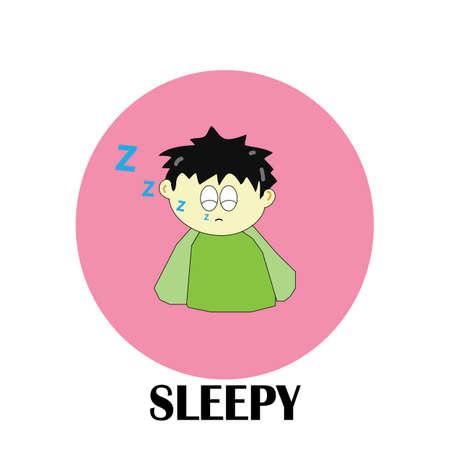 A boy character sleepy feeling on a white background Illustration