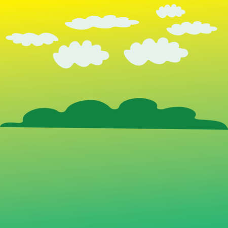 abstract country landscape with white clouds background