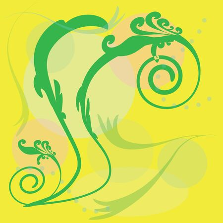 abstract green flower pattern on a yellow background Illustration