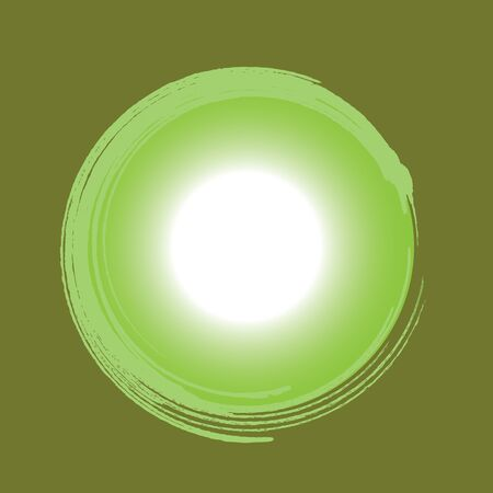 abstract magic green circle on a yellow background