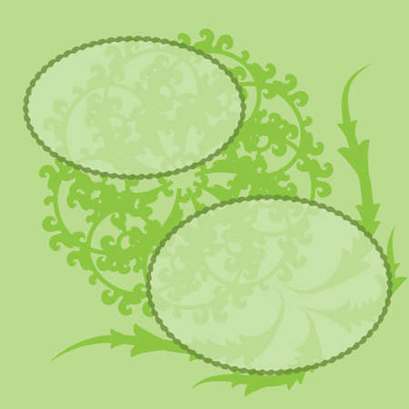 abstract green flower with space for text on a green  background