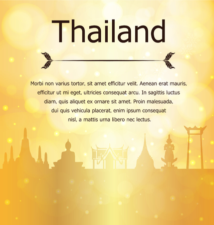 Thailand Travel Landmarks Vector and Illustration on Gold Background