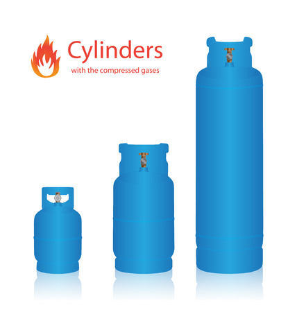 compressed: Cylinders with the compressed gases on a white background Illustration