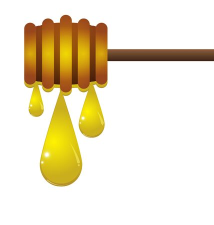 dip: Honey dripping from a wooden honey dipper isolated on white background