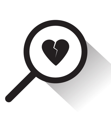 seeking: vector magnifying glass with broken heart icon on white background