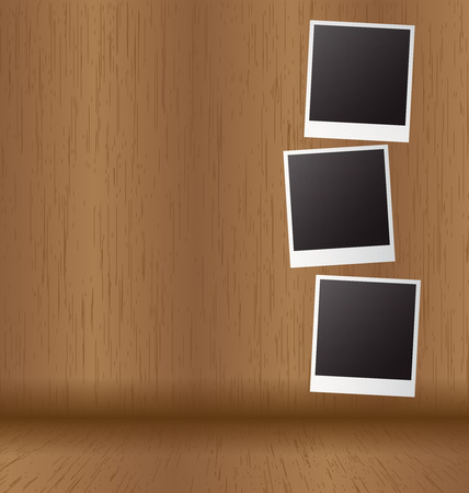 wood panel: White paper picture frame on wood panel