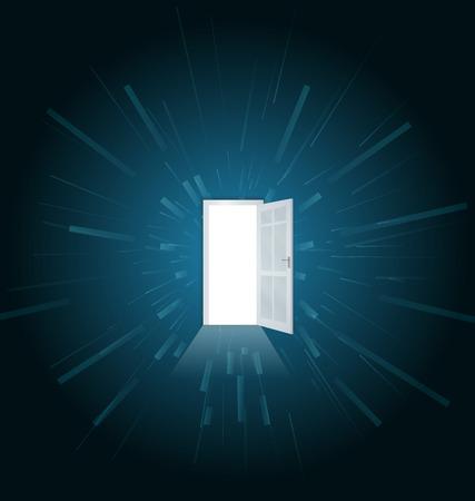 multiple choice: Vector illustration of one open door full of light Illustration