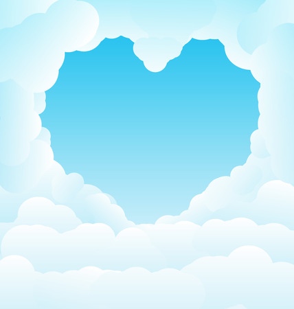 clouds: Blue sky with some romantic heart shaped clouds.