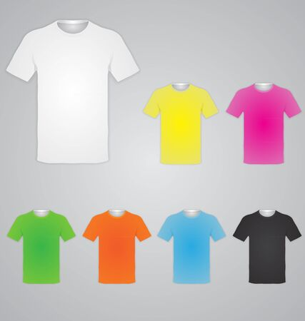 White and color men t-shirts. Design template. Vector illustration