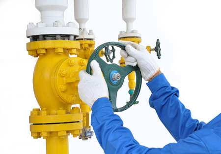 close fitting: Stock Photo - Turning on and off pipeline valve Stock Photo