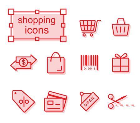 token: Thin line icons set, Linear symbols set, Shopping Illustration