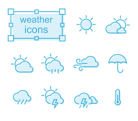 Thin line icons set, Linear symbols set,  weather Stock Vector - 68696661