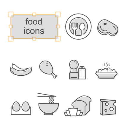 Thin line icons set, Linear symbols set, Food