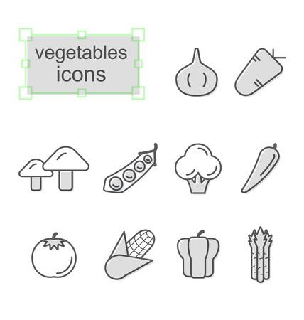 Thin line icons set, Linear symbols set, Vegetables