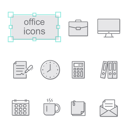 Thin line icons set, Linear symbols set, Office