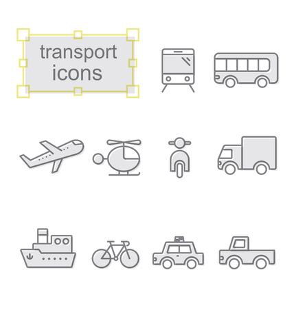 Thin line icons set, Linear symbols set, Transport
