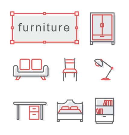 Thin line icons set, Linear symbols set, furniture